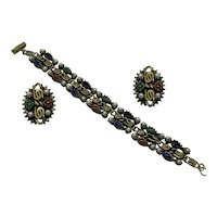 Vintage Set Bracelet Clip Earrings Red Green Blue Faux Pearl Gold-tone Demi Parure