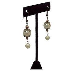 Repurposed Vintage Jewelry Earrings Dangle Pale Mossy Green
