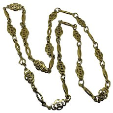 Trifari Long Gold-tone Necklace Link Chain