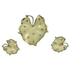 Coro Demi-Parure Enamel Leaf Set Creamy-white Clear Rhinestones Pin Earrings