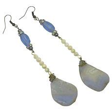 Repurposed Amethyst MOP Extra Long Earrings Lavender Beads