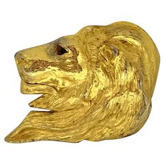 Christopher Ross Heavy Belt Buckle Lions Head Gold-Plated
