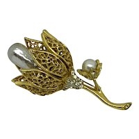 Signed BSK Flower Pin Faux Pearl Gold-tone filigree Rhinestone