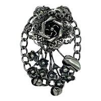 Hôbé Sterling Pin Brooch Silver Floral Bouquet Flowers Rare
