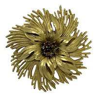 Large Signed HAR Flower Pin Brooch Gold-tone Red Rhinestones