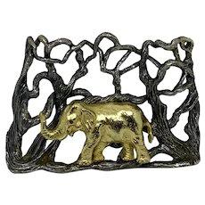 Endangered Species by Eugene Bertolli from Napier Elephant 2-tone pendant 70s