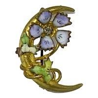 Antique Crescent Moon Floral Pin Enamel Flowers Purple Green Gold-tone Vine