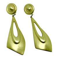 Givenchy Long Statement Earrings Clip Brushed Gold-tone Runway