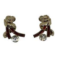 Little Nemo Art Deco Screw Clip Earrings Red & Clear Rhinestones Ribbons