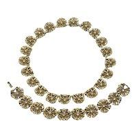 Rare Trifari 40s Demi-Parure Necklace Bracelet Gold-tone Flowers Clear Rhinestones