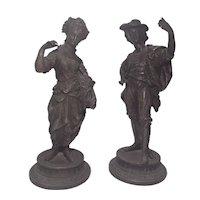 Antique Sculpture Spelter figures Pair Couple Man and woman