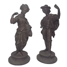Pair Antique Spelter Sculpture figures Man and woman