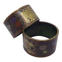 Very old Cloisonné Japanese Cloisonné & Painted Black Lacquer Napkin Rings