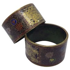 Very old Cloisonné Japanese Cloisonné & Painted Black Lacquer Napkin Rings