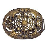 Antique Ornate Victorian Brass Buckle