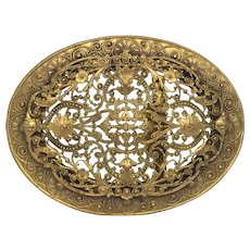 Antique Art Nouveau Fancy Large Brass Buckle
