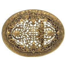 Antique Art Nouveau Fancy Large Brass Buckle
