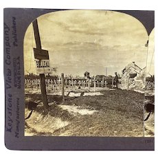 Stereograph Photo WWI Battle of Belleau Cemetery France Aisne-Marne American Stereoview