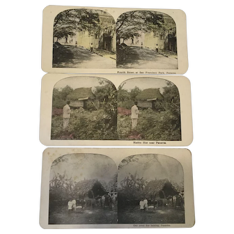 Tinted Stereograph View Panama Canal set of 3 antique photograph