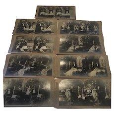 9 Antique Stereograph Views Art Nouveau C. H. Graves 1901 French Maid
