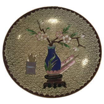 Chinese Cloisonne Trinket Dish Blue calligraphy brushes Cherry Blossoms