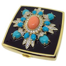 Rare Kenneth Jay Lane Compact Mirror Rhinestones, Faux Turquoise & Coral