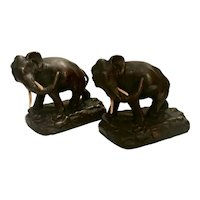 Vintage Heavy Elephant Sculptures by Armor Bronze or Bookends