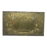 Antique Bronze Die Plate for Cigar Box Label Flor Fina Litho Embossing Tobacciana