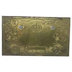 Antique Cigar Box Bronze Die Plate for Label Flor Fina Litho Embossing Tobacciana