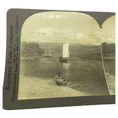Stereoview Mount Fuji Fuji-Yama Lake Mitsu Biwa Boats Fishing