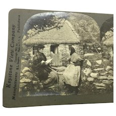 """Stereoview Irish Women """"A Letter from Pat in America"""" Ireland Photo"""