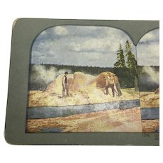 Stereograph Photo Yellowstone Grotto Geyser Cone Stereoview