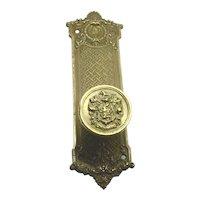 Rare Brass Door Knob & back plate Tutwiler hotel Birmingham Alabama Russwin Mazarin
