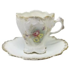 """RS Prussia Swirled Demitasse Cup & Saucer Pink Flowers """"Old Mold"""""""