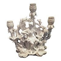 Super Rare Maitland Smith Blanc de Chine Candelabra Chinese Woman with Dogs
