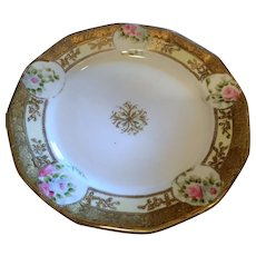 Set of 2 Nippon Plates Flowers Gold Noritake Morimura Bros.