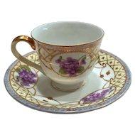 AdLine Bone China Demitasse Cup & Saucer Violets Occupied Japan