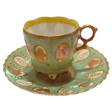 Vintage Occupied Japan Demitasse Cup & Saucer Portraits and Gold