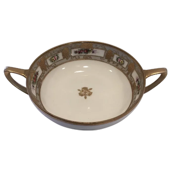 Nippon Double-handle Bowl Royal Crockery Hand-Painted floral design