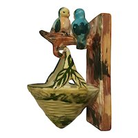 Japan Wall Planter/Pocket Pair Love Birds w/Basket Hand-painted
