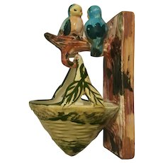 Japan Wall Planter/Pocket Pair Love Birds w/Basket Hand-painted