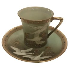Nippon Flying Geese Swans Cup and Saucer Gold Trim antique
