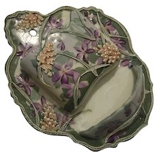 Antique Nippon Moriage Match Holder Violets & Wheat Wall