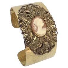 Repurposed Cameo Cuff Bracelet Hammered gold-tone & Filigree