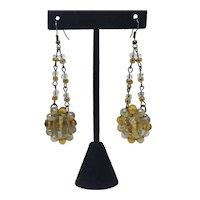 Upcycled art glass bead earrings Long Dangle Pierced