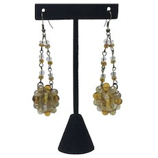Upcycled art glass bead earrings Long Dangle Pierced