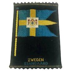 "Vintage Zweden woven cigarette card black silk standard  tobacco card Door Steden en Dorpen through Country Towns Villages made in Holland Original circa 1930   3"" x 2"" Sweden"