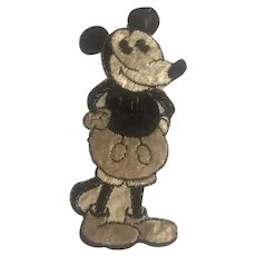 """A Rare vintage Tobacco Cigarette Embroidery silk rare Mickey Mouse No C 4 issued in Holland circa 1930 51/2"""" x 21/4"""" inserted in cigar boxes and cigarette packs"""