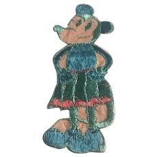 """A Rare vintage Tobacco Cigarette Embroidery silk rare Minnie Mouse No C 1 issued in Holland circa 1930 5"""" x 2.1/4"""" inserted in cigar boxes and cigarette packs"""