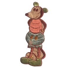 """A Rare vintage Tobacco Cigarette Embroidery silk rare Minnie or Mickey Mouse No C 4 issued in Holland circa 1930 6"""" x 21/4"""" inserted in cigar boxes and cigarette packs"""